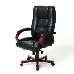 【セール】本革椅子(社長椅子・エグゼクティブチェア・キャスター付き・ロッキング固定機能・黒色)